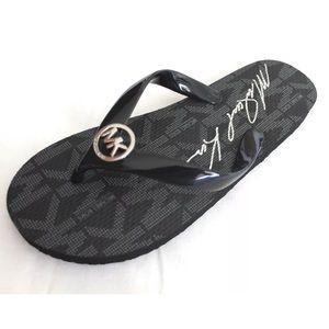 Michael kors black flip flop sandals shoes silver